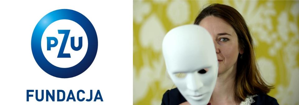 Logo PZU i obrazek twarzy odsłaniającej maskę